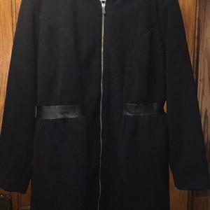 Roaman's Women's Black Zip Up Coat with Pockets